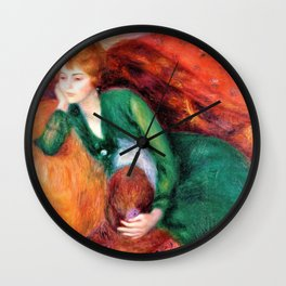Young Woman in Green - William James Glackens Wall Clock