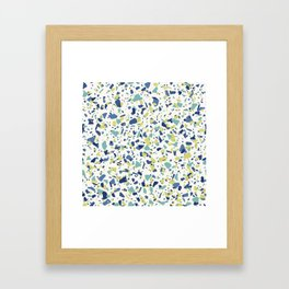 Terrazo in Blue, green and citron Framed Art Print