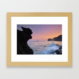 Big Wave. La Joya Beach At Sunset. Spain Framed Art Print