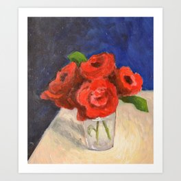 My Little Red Roses in a Glass Art Print