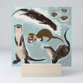 New World otters Mini Art Print