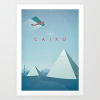 travel poster Art Prints featuring Cairo - Vintage Travel Poster by Travel Poster Co.