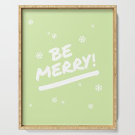 Bright Lime Green Be Merry Christmas Snowflakes Serving Tray
