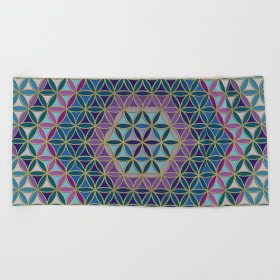 Flower of Life variation #3 Beach Towel