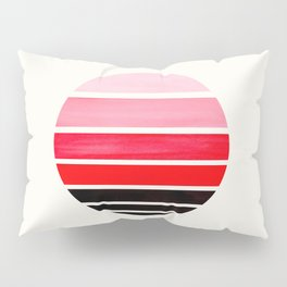 Red Mid Century Modern Minimalist Circle Round Photo Staggered Sunset Geometric Stripe Design Pillow Sham
