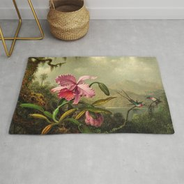 Orchids And Hummingbirds mountainous rainforest landscape painting by Martin Johnson Heade Rug