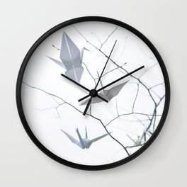 Origami Cranes and Tree Branches Peace Wall Clock