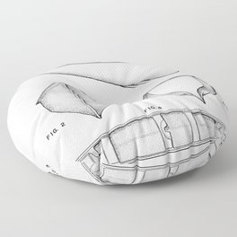 Canoe Patent - Kayak Art - Black And White Floor Pillow