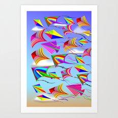 Kites Rainbow Colors in the Wind Art Print