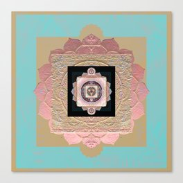 Rose Gold and Muted Turquoise Lakshmi Soul Mandala Canvas Print