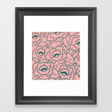 Flowers and leaves pattern - pink and green Framed Art Print