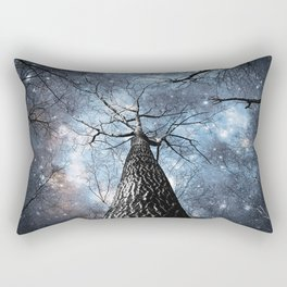 Wintry Trees Galaxy Skies Steel Blue Rectangular Pillow