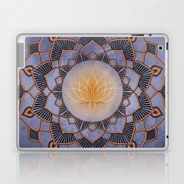 Orange Lotus Flower Mandala On A Textured Blue Background Laptop & iPad Skin