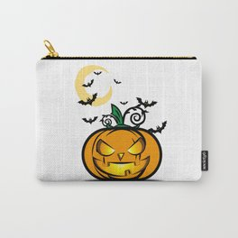 Halloween Pumpkin And Bats Fly In Moonlight Carry-All Pouch