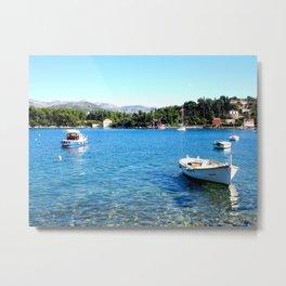Boats in the harbor, Croatia Metal Print