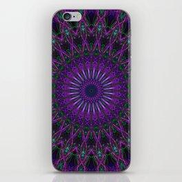 Mandala in violet and green tones iPhone Skin