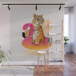 Chillin (Flamingo Tiger) Wall Mural