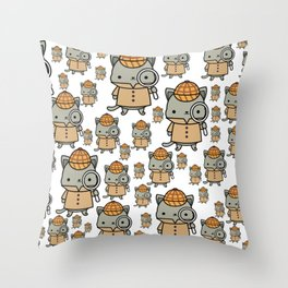 The Cozy Mystery Book Club Mascot | Purrlock Holmes Throw Pillow
