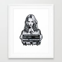 kate moss Framed Art Prints featuring Kate Moss by Merlin Dobaryan