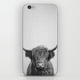 Highland Cow - Black & White iPhone Skin