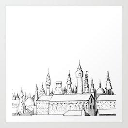 fabulous city . art . black and white Art Print