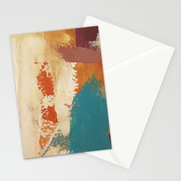 Rustic Orange Teal Abstract Stationery Cards