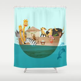 Noahs Ark with Animals– Illustration for the childrens room of girls and boys Shower Curtain