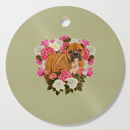English Bulldog Puppy with flowers Cutting Board