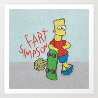 simpson Art Prints featuring FART SIMPSON by Josh LaFayette