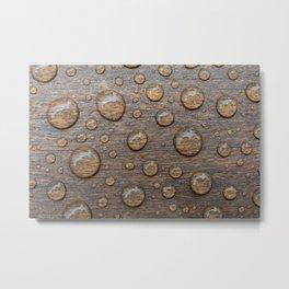 Water Drops on Wood 5 Metal Print