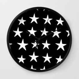 Star Pattern White On Black Wall Clock