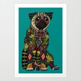 pug love teal Art Print