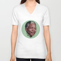 mandela V-neck T-shirts featuring Nelson Mandela by LightCircle