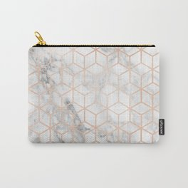 Marble & Rose Gold Squares Carry-All Pouch