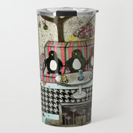"""Penguins are watching TV""  Illustrated print. Travel Mug"