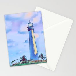 Cape florida lighthouse and Biscayne bay artwork Stationery Cards