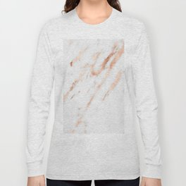 Pink Quartz Marble Rose Gold White Long Sleeve T-shirt