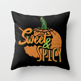 Distressed Halloween Pumpkin Sweet and Spicy Throw Pillow