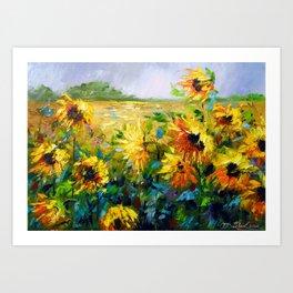 Wind and sunflowers Art Print