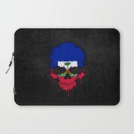 Flag of Haiti on a Chaotic Splatter Skull Laptop Sleeve