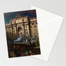 La Fontana di Trevi (Fountain of Trevi) at Moonlight by Oswald Achenbach Stationery Cards