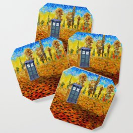 Blue phone Booth at Fall Grass Field Painting Coaster