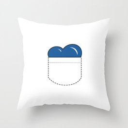 Close to my Heart, Pocket Love - Blue Throw Pillow