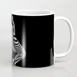 0443s-MM Black and White Zebra Striped Art Nude Figure on Black Coffee Mug