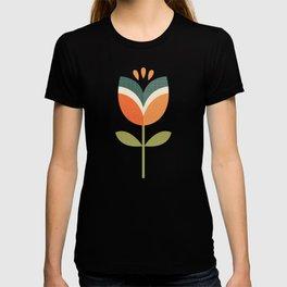 RETRO TULIP - ORANGE AND OLIVE GREEN T-shirt