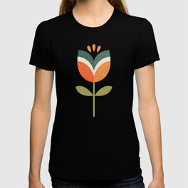 RETRO TULIP - ORANGE AND OLIVE GREEN T-shirt
