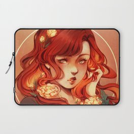 Red hair, White flowers Laptop Sleeve
