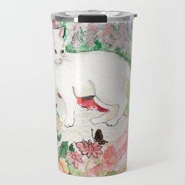 White Cat in a Garden Travel Mug