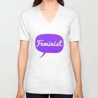 feminist V-neck T-shirts featuring Feminist by LittleKnits