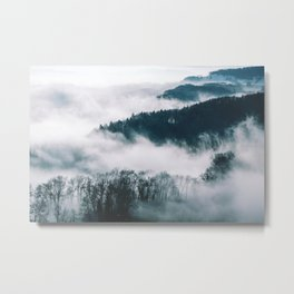 Foggy Forest Mountain (Color) Metal Print